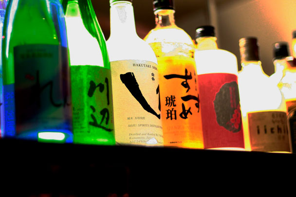 A variety of shochu and sake